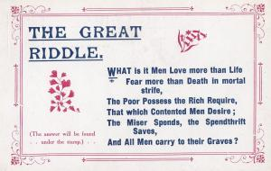 Miser Spendthrift Shopaholic To The Grave Poem Songcard Old Postcard