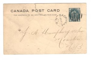 Victoria Jubilee Postal Stationery Postcard, Used Sackville, New Brunswick 1900