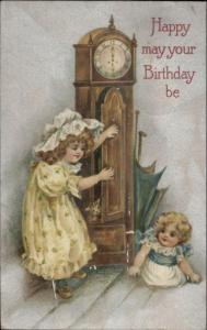 Children Little Girls Bonnet - Grandfather Clock Winsch Birthday Postcard