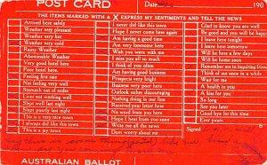 Australian Ballot Australia 1908