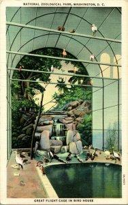 Vtg Postcard Washington DC National Zoological Park Flight Cage In Bird House