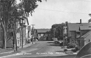 Mechanic Falls ME Storefronts Old Car RPPC Postcard