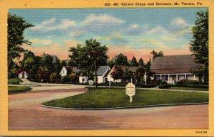 Virginia Mt Vernon Entrance and Mt Vernon Shops Curteich