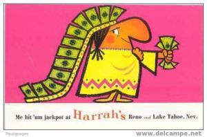 Advertising Card, Me Hit ´um Jackpot at Harrah´s at Reno and Lake Tahoe Nevada