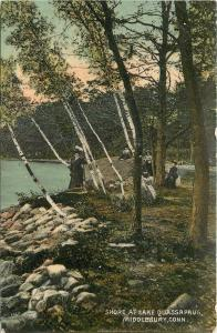 Middlebury CT~Ladies in Victorian Hats, Birch Trees~Shore @ Lake Quassapaug~1910