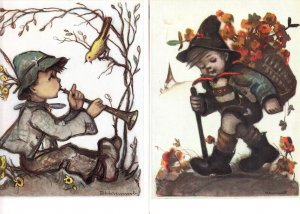 German Pied Piper Boy Charming Birds Hiking 2x 1960s Postcard s