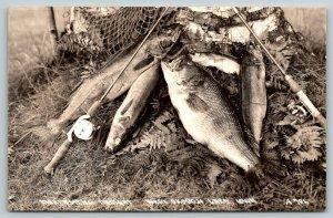Wet Okoboji Lake Iowa~Fisherman's Catch~Large Mouth Bass~Walleye~Rods~1940s RPPC