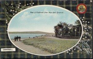 Scotland Tartan Postcard - View of Esplanade From West End, Greenock RS1691