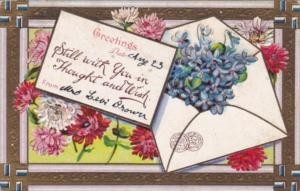Greetings With Flowers and Swastika Border 1909