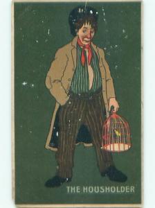 Pre-Linen Comic MAN CARRYING ANTIQUE BIRD CAGE AB8676