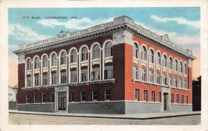 Logansport Indiana~City Building & Street Corner~1920s Postcard