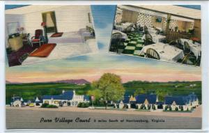 Pure Village Court Motel US 11 Harrisonburg Virginia linen postcard