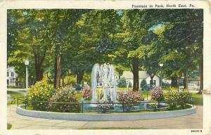 Linen Card of Fountain in Park North East Pennsylvania PA ??