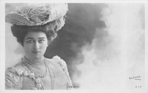 Mlle Juniori Photo~French Actress~Feather Hat~Pearl Necklace~Rose Gown~1903 RPPC
