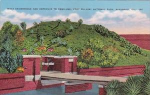 Georgia Savannah Moat Drawbridge And Entrance To Demilune Fort Pulaski Nation...