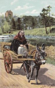 Ireland Going To Market Woman With Donkey Cart