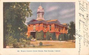 The Dalles Oregon Wasco Court House Street View Antique Postcard K33599