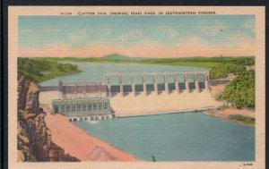 Virginia colour PC Claytor Dam Showing Peaks Knob in Southwestern Va. unused