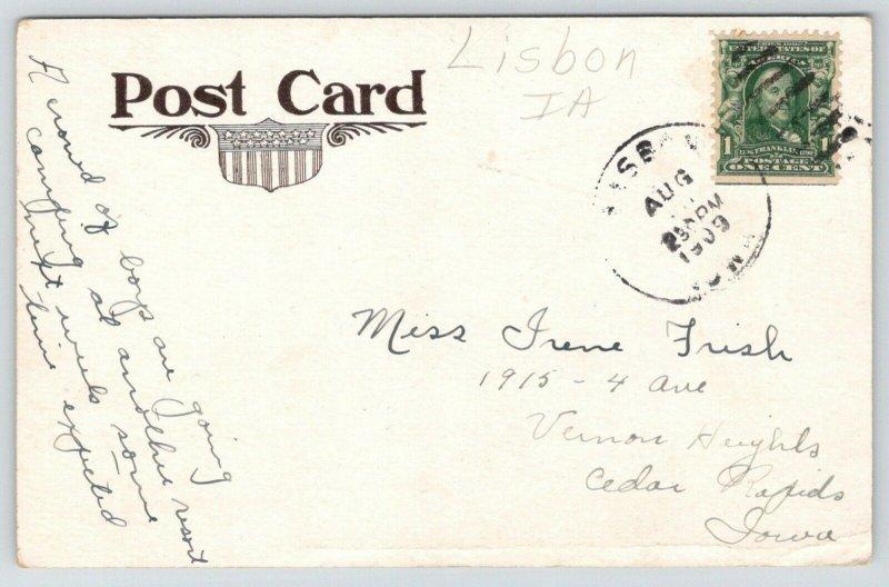 Lisbon Iowa~LHS~High School Orange Pennant~Crowd of Boys Going Camping~1909