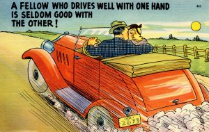 Humor - A fellow who drives well with one hand…