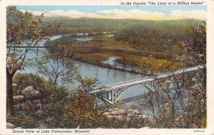 Lake Taneycomo Missouri~Highway & Railroad Bridges~Birdseye~1940s Postcard