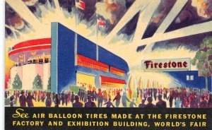 Factory & Exhibition Building FIRESTONE TIRES Chicago World's Fair 1934 Postcard