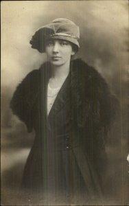 Pretty Woman Hat & Fur - Boonton NJ Price's Studio c1920 Real Photo Postcard