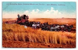 Harvesting Scene, Combined Header and Thresher near Modesto, CA Postcard *5E1