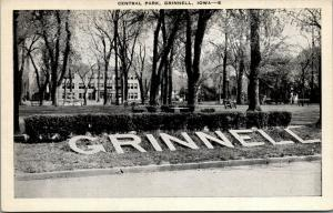 Grinnell Iowa~Large Letters on the Ground @ Central Park~1940s B&W Linen PC