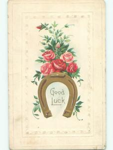 Pre-Linen LUCKY GOLDEN HORSESHOE WITH PINK ROSE FLOWERS k4597