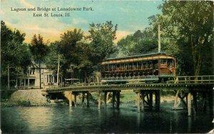 Bridge Lagoon Lansdowne Park St Louis Missouri 1913 Trolley Postcard 20-1241