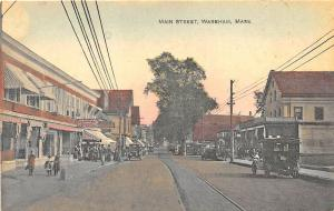 Wareham MA Main Street Storefronts Trolley Tracks Old Cars Postcard
