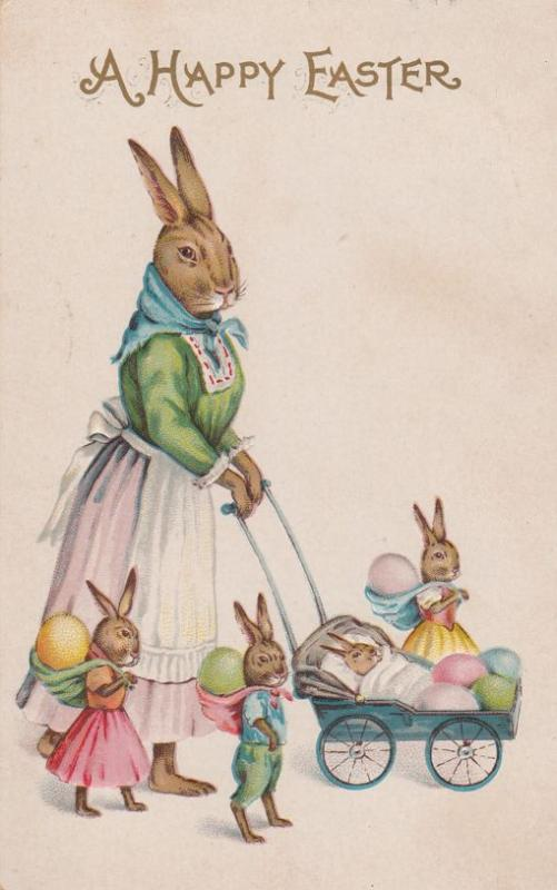 Mother rabbit with bunny children happy easter greetings db mother rabbit with bunny children happy easter greetings db m4hsunfo