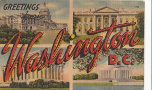Greetings from Washington DC, multi view, 1950 used linen Postcard