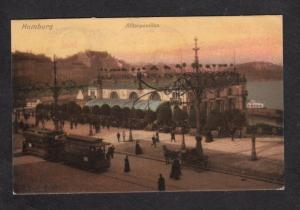 Germany Hamburg Alsterpavillon Postcard Postkarte Postage Due German Trolley Car