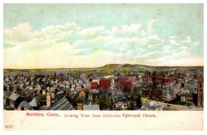 Connectiicut Meriden , Aerial View looking West from Methodist Episcopal Church