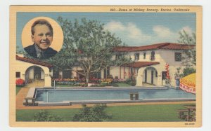 P2005, ca1942 postcard home of micky rooney movie star actor encino calif unused