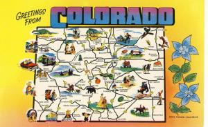 Colorado/CO Postcard, Greetings From Colorado, Map Design