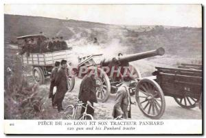 Postcard Old Army Piece 120 long and Panhard tractor