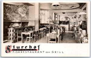 Stockholm, Sweden RPPC Real Photo Postcard STUREHOF RESTAURANT Interior c1940s