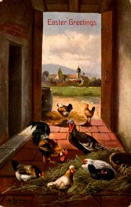 Greeting - Easter. Turkey, Rooster, Hens
