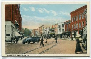 Main Street Car Bennington Vermont 1920c postcard