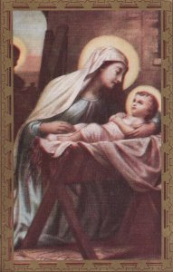 Virgin Mary with Baby Jesus in manger, 1900-10s