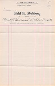 Indianola IA Edd McKee~Palace Shoe Store~Dealer Letterhead Receipt~1880s FINE