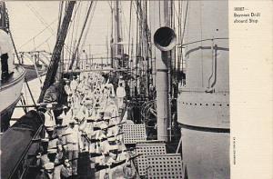 Military Sailors Practicing Bayonet Drill Aboard Ship