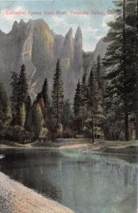 YOSEMITE VALLEY CALIFORNIA CATHEDRAL SPIRES FROM RIVER~NEWMAN #Y38 POSTCARD 1910