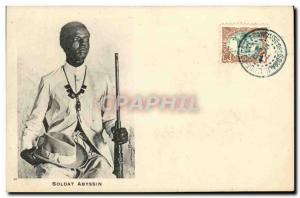 Postcard Old Soldier Djibouti Somali Abyssinian TOP