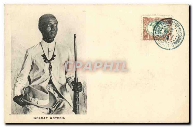 Postcard Old Soldier Djibouti Somali Abyssinian TOP