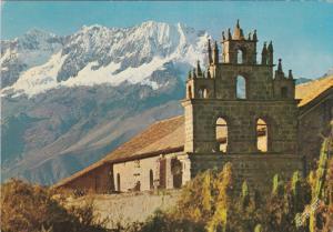 TIOBAMBA, Cuzco, Peru, 1950-1970's; Church With Snowcovered Mt. Chicon