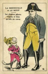 The Frog and the Ox, Napoleon Bonaparte, Frog in Uniform (1910s) Postcard